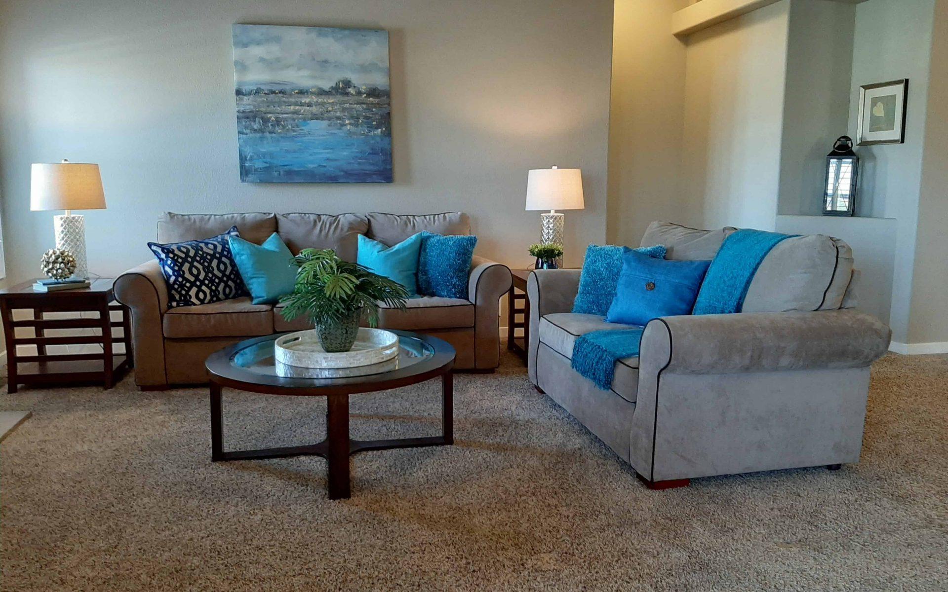 blue staged living room